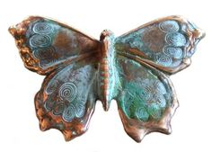 Verdigris Patina Solid Brass Butterfly Pin Elaine Coyne. $21.00. Verdigris  Patina Solid Brass Butterfly