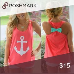 Backless Bow Anchor Shirt: Various Sizes I know this top just screams cuteness!! These colors just go so well together, and they'll look even better on you. Summer is quickly ending so get them at this price while they last!!!! Tops