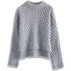 Chicwish Soft Cable Knit Sweater in Grey ($30) ❤ liked on Polyvore featuring tops, sweaters, grey, knit, chunky cable knit sweater, grey sweaters, drop shoulder tops, funnel sweater and grey top