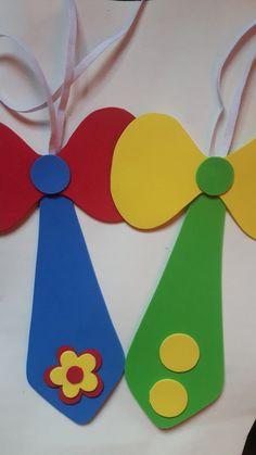Como Fazer Gravata de EVA: 25 Modelos e Moldes Kids Crafts, Clown Crafts, Carnival Crafts, Carnival Themes, Preschool Crafts, Diy And Crafts, Arts And Crafts, Paper Crafts, Carnival Masks