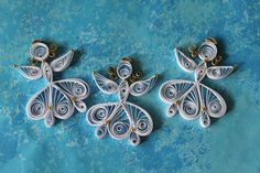 Set of 3 white quilled angels / quilling by OrnamentHouse on Etsy