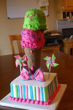Gumpaste pinwheels and fondant bow. Ice Cream Cone Cake, Ice Cream Party, Cupcake Ideas, Cupcake Cakes, Cupcakes, Themed Birthday Cakes, Themed Cakes, Toddler Girl Parties, Cake Decorating