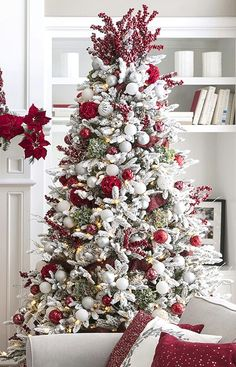 Red White And Silver Christmas Tree.Pinterest