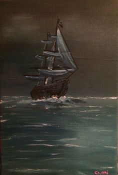 Sailing night 30x20cm oil