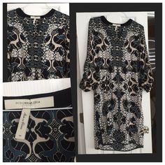 BCBG Max Azria print dress, size M Gorgeous BCBG Max Azria dress.  Never worn but no tags. Size M. BCBGMaxAzria Dresses Long Sleeve