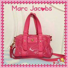 MARC by MARC JACOBS Totally Turnlock Lil Shifty ***Rare find in this Color and Material***  Buttery soft leather & Patent Leather comprises a slouchy satchel fronted with a decorative, logo-embossed turnlock, while double handles and an optional shoulder strap provide convenient carrying options.  Guaranteed to be authentic and genuine  Logo-etched hardware.  Leather straps around bag.   Hot Pink lacquered edging.  Polished brasstone hardware.  Fuschia Pink color, pebbled soft Italian…