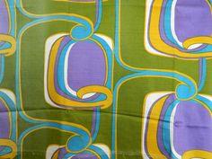 WOW! Great piece of 60's interior design. Retro cotton sateen fabric.