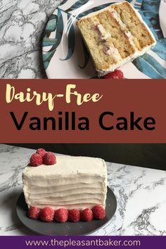 "Try my dairy-free vanilla cake recipe! Also known as ""depression cake"". #thepleasantbaker #dairy-freecake #dairy-free #allergenfriendly #cakerecipe Dairy Free Vanilla Cake, Dairy Free Buttercream, Buttercream Recipe, Delicious Cake Recipes, Yummy Cakes, Dessert Recipes, Desserts, Rectangle Cake, Postres"