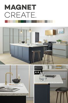 Introducing Magnet Create - 20 new kitchen colours you can't just see, you can feel. Open Plan Kitchen Dining, Living Room Kitchen, Home Decor Kitchen, Interior Design Kitchen, Kitchen Ideas, New Kitchen Cabinets, Kitchen Units, Grey Kitchens, Home Kitchens