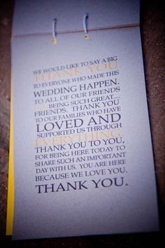 love this thank you note that can be in the back of the ceremony program