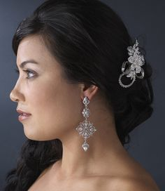 Intricate White Pearl and Crystal Bridal Earrings--Affordable Elegance Bridal -