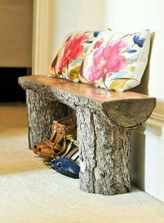 Banco con tronco. Decoracion Woodworking Guide, Easy Wood Projects, How To Plan