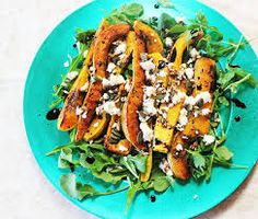 Butternut Rocket and Feta Salad. A salad of Butternut Rocket and Feta with a Balsamic Glaze as a side dish to a lovely Chicken Fricassee. Warm Salad, Winter Salad, Braai Recipes, Side Recipes, Healthy Salad Recipes, Vegetarian Recipes, South African Recipes, Ethnic Recipes, Chicken Fricassee