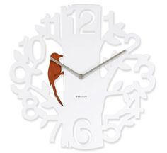 WHITE WOODPECKER WALL CLOCK