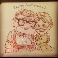 One of the talented artists at Disneyland drew this. A nice anniversary present from my Ellie.