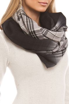Steve Madden - Ombre Plaid Infinity Scarf in Gray