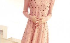 Cutie Pleated Polka Dot Dress Pink