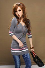 V-neck Assorted Colors Knitted Top    $27.57