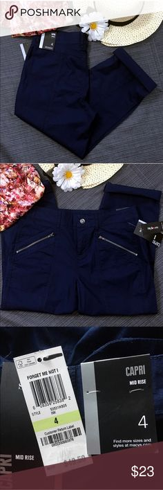 """Style & Co Navy Blue Cotton Mid-Rise Capris New Cute cotton navy blue capris that can be worn with cuffs or straight legs. The front pockets are zippered and there are not any pockets in the back.  New with tags. Waist: 31""""; Inseam: 22""""-24 1/2"""". Measurements are approximate. Smoke free home. 🌺Thank you for shopping my closet 😊🌺 Style & Co Pants Capris"""