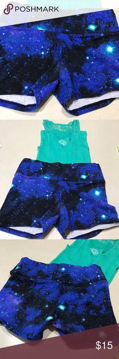 NWOT 🌺 PINK galaxy yoga shorts and  lace tank PINK galaxy yoga shorts (xs) with lace tank (s) PINK Victoria's Secret Shorts