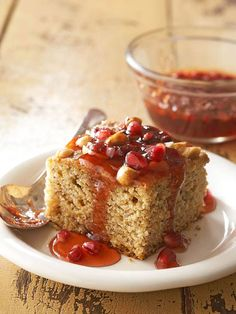 Banana-Clementine Wacky Cake with Pomegranate Sauce Clementine peel ...