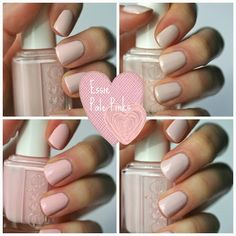 I have a few Essie pale pinks in my collection and was curious to see how they stacked up against one another. In the bottles, some o. Opi Gel Nails, Essie Polish, Nail Polish Art, Nail Polish Colors, Essie Colors, Nail Polishes, Cute Nails, Pretty Nails, Beauty