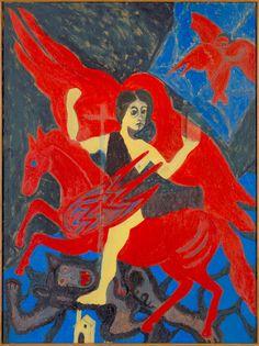 Enchanted Rider by Bob Thompson / American Art African American Art, American Artists, Julia, Outsider Art, Contemporary Paintings, Black Art, Unique Art, Art Museum, Oil On Canvas