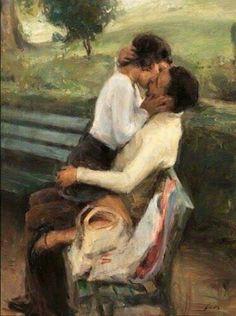 genterie — genterie: 'Impulsive love' by Ron Hicks Romance Arte, Painting Love Couple, Couple Art, Art Romantique, Art Amour, Arte Alien, Image Nature Fleurs, Renaissance Kunst, Romantic Paintings