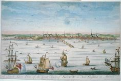 A south east view of the great town of Boston in New England in America, c 1730-1760