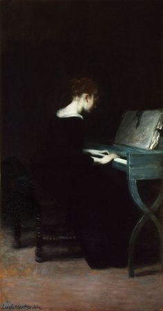 Painting of a young woman at the piano Ludwig von Herterich (German, Herterich is best known as a painter of portraits and history paintings and is a representative of the Munich School. He taught at the Kunstschule. Arte Obscura, Classical Art, Art Music, Aesthetic Art, Dark Art, Female Art, Art History, Painting & Drawing, Art Gallery