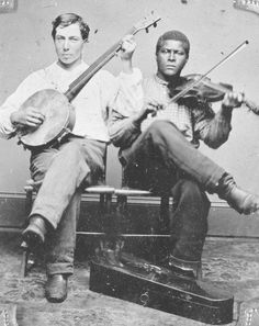 American tintype portrait of a white banjo player and a black fiddle player, c. Source: Sotheby's. Music Pics, Music Photo, First Color Photograph, Old Country Music, Teen Party Games, Mountain Music, Vintage Music, Vintage Metal, Celebrity Travel