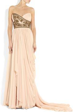 Marchesa Embellished Silkchiffon Strapless Gown in Pink (blush) | Lyst