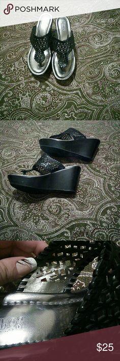 Selling this Black wedge sandals on Poshmark! My username is: hmcs05. #shopmycloset #poshmark #fashion #shopping #style #forsale #Carlos Santana #Shoes