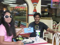 """""""Live Strong with the Power of Pink, FB Bling thanks to Plink"""" - Frank  Checkout the sunglasses. Nice touch!  Frank and his wife, Litty, earning Facebook Credits through Plink.com at Taco Bell in NY"""