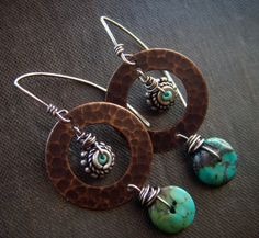 Earrings | Lynn Ferro.  Brass, turquoise, sterling silver and seed beads.