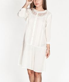 Another great find on #zulily! Ecru Embroidered Drop-Waist Dress by Tantra #zulilyfinds