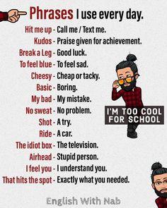 English With Nab English Learning Spoken, Teaching English Grammar, English Writing Skills, Learn English Words, English Phrases, English Language Learning, English Lessons, Slang English, French Lessons