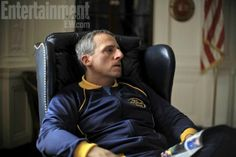 First pic of an almost unrecognizable Steve Carrell as schizophrenic murderer John DuPont in Foxcatcher.