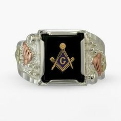 Black hills gold four tone onyx masonic ring in sterling silver - men on shopstyle.com