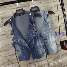 Gothic Women Studded Rivet Denim Vest Jean Biker Waistcoat Vest Summer Coat SIZE