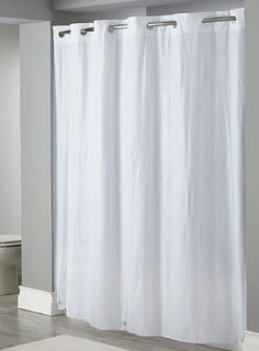 White Hookless Shower Curtain