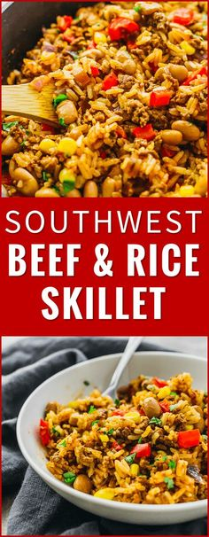 Southwest beef and rice skillet - This tasty Southwest skillet has ground beef, rice, peppers, onions, pinto beans, corn, and a dash of cayenne -- all cooked together in one pan. recipe, recipes, cooking, stir fry, mexican, easy, healthy, bowl, tex mex, dinner, one pot, dishes, crisp, meat, tomatoes, pf changs, lunches, red beans, ovens, quick meals, cups, house via @savory_tooth