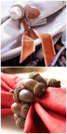 ronds de serviettes pour l'automne en matériaux naturels