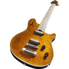 EVHWolfgang USA Hardtail Electric GuitarTransparent Amber, Close Angle