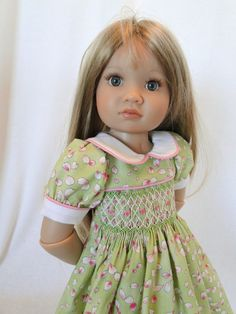 Smocked dress for Kidz N Cats doll by dancingwithneedles on Etsy,