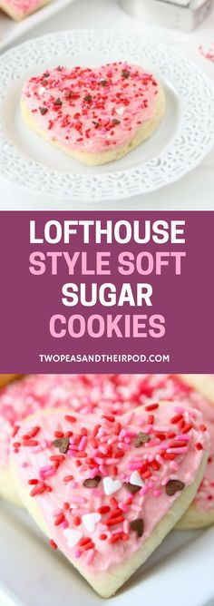 Lofthouse Style Soft Sugar Cookies - Lofthouse sugar cookies with buttercream frosting. These soft and fluffy sugar cookies are perfect for Christmas, Valentine's Day, or any occasion. It's the best homemade cookies that are easy to make. For more easy and delicious dessert recipes, check us out @twopeasandpod #desserts #sweettooth #easyrecipe