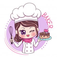Illustration of cartoon character female baker , Baking Logo Design, Cake Logo Design, Menu Design, Bakery Logo, Logo Restaurant, Logo Chef, Cute Bakery, Cartoon Chef, Bakery Business Cards