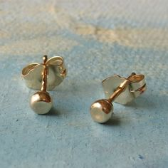 small gold studs  Gold Pebble Earrings  3mm   by SoundsofSilver