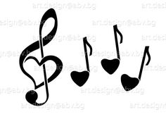 Vector NOTES music love AI eps png svg pdf jpg par DuglyGraphics