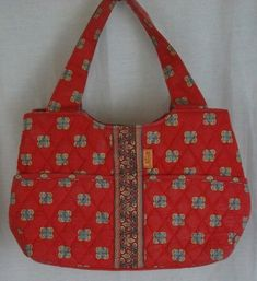MAGGIB Sachel Handbag Multi-Color on Coral Background Quilted Easy Care #MaggiB #Satchel